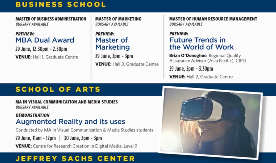 Lịch trình giới thiệu một số chương trình sau đại học của Sunway