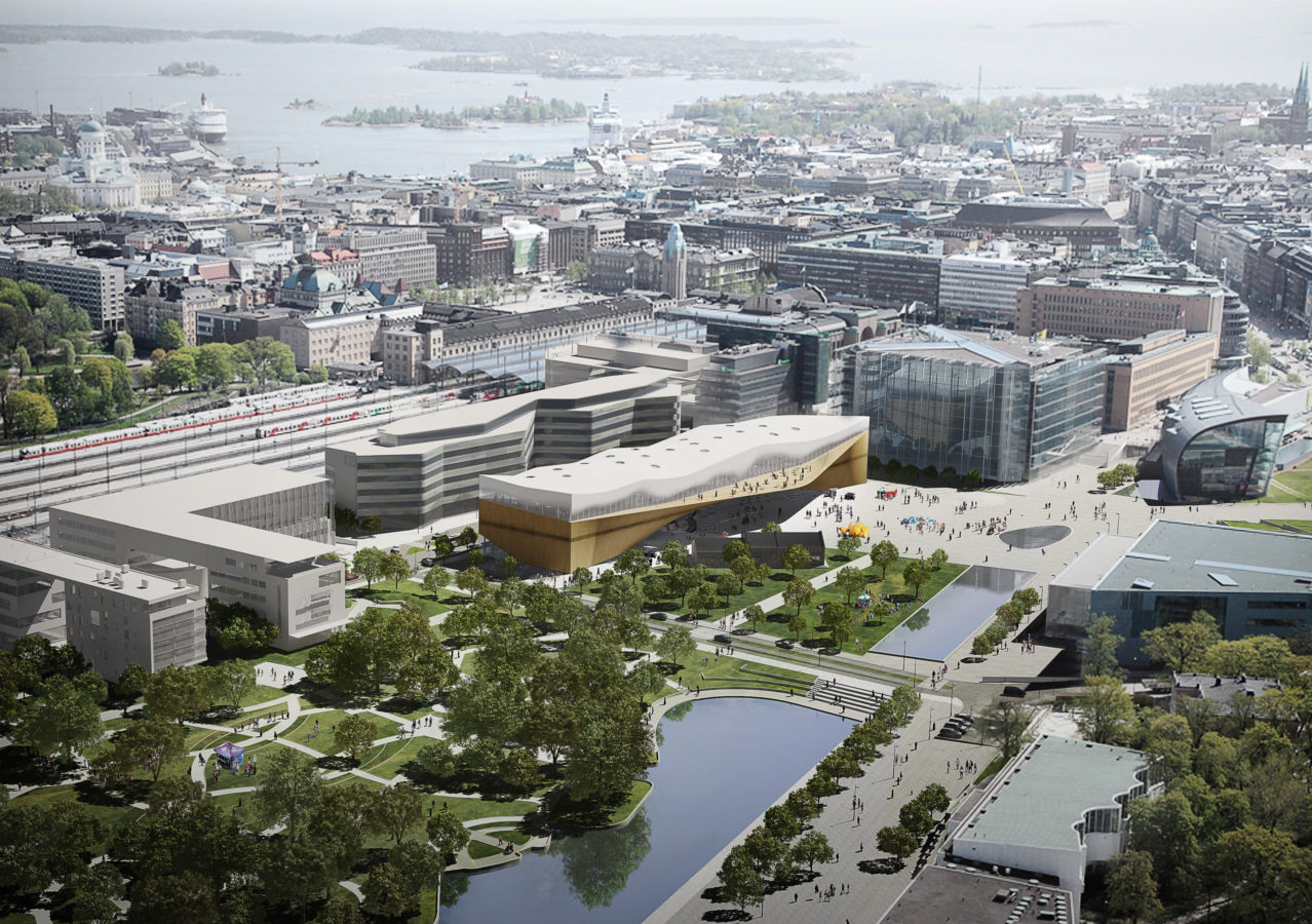 Không gian xung quanh thư viện Oodi (tòa nhà màu vàng ở giữa)