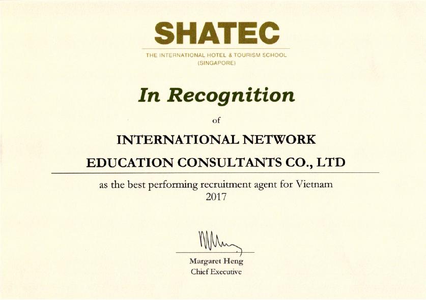 Giải thưởng Đại diện Tuyển sinh Tốt nhất 2017 mà INEC được nhận từ SHATEC