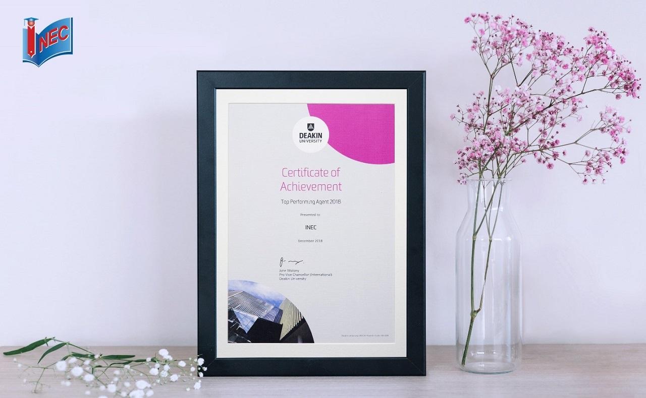 Năm thứ 2 Du học INEC được vinh danh với giải thưởng Top Performing Agent của Deakin