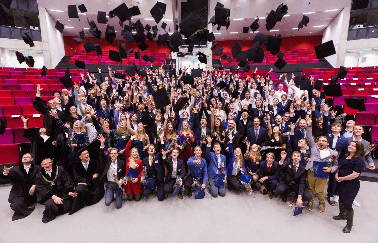 Hà Lan là điểm đến học tập của nhiều sinh viên quốc tế. Trong ảnh là lễ tốt nghiệp năm 2019 của Đại học Twente Hà Lan