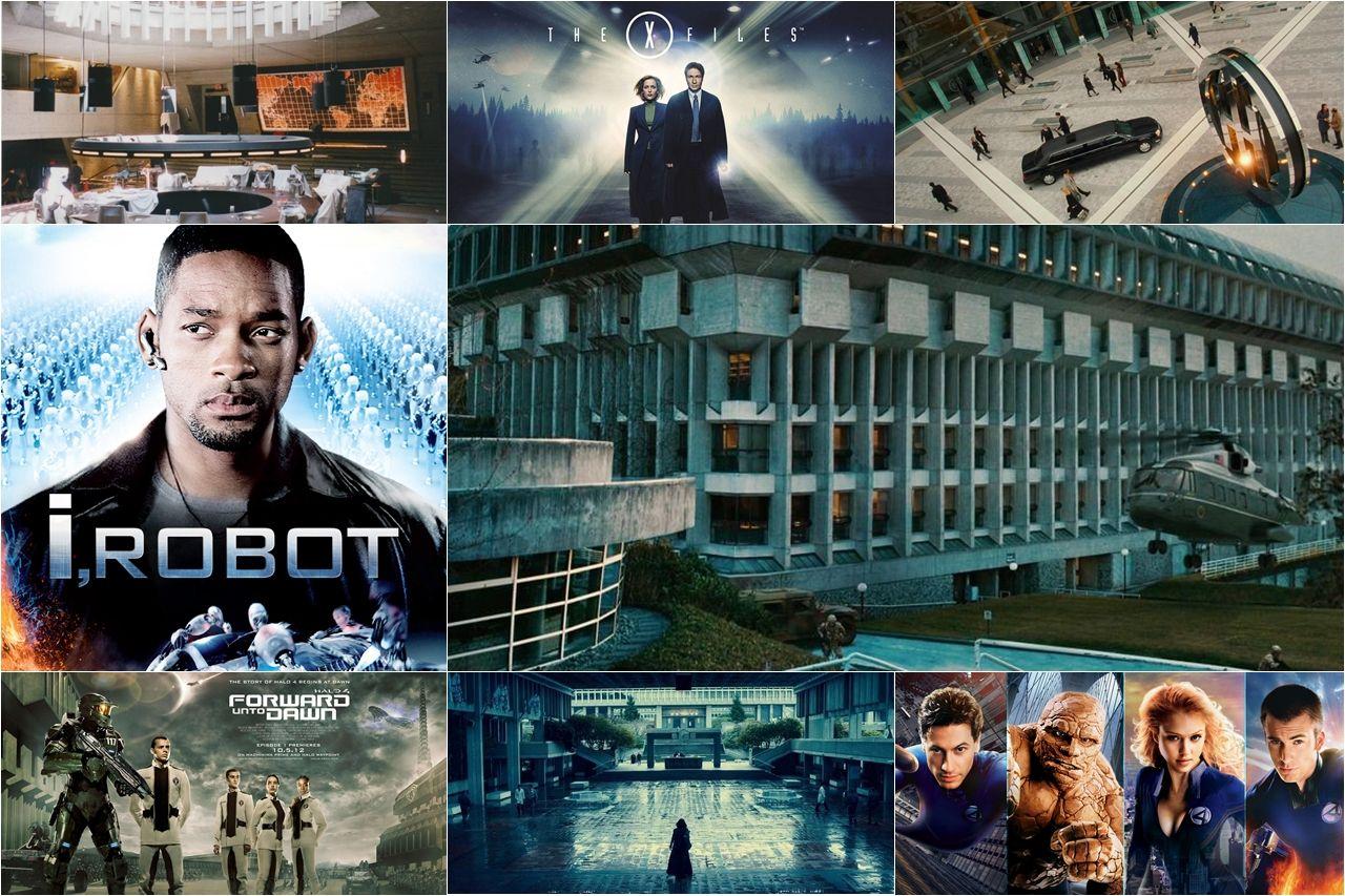 Cảnh phim và poster một số phim ghi hình tại Đại học Simon Fraser (từ trái qua, từ trên xuống): Agent Coby Banks (2003); The X-Files; Catwoman (2004); I, Robot (2004); The day the earth stood still (2008); Halo 4: Forward Unto Dawn; Underworld: Awakening (2012); Fantastic Four (2005).