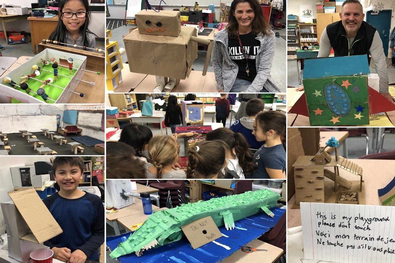 Học sinh Burnaby School District với các sản phẩm cho bài tập sáng tạo từ thùng carton
