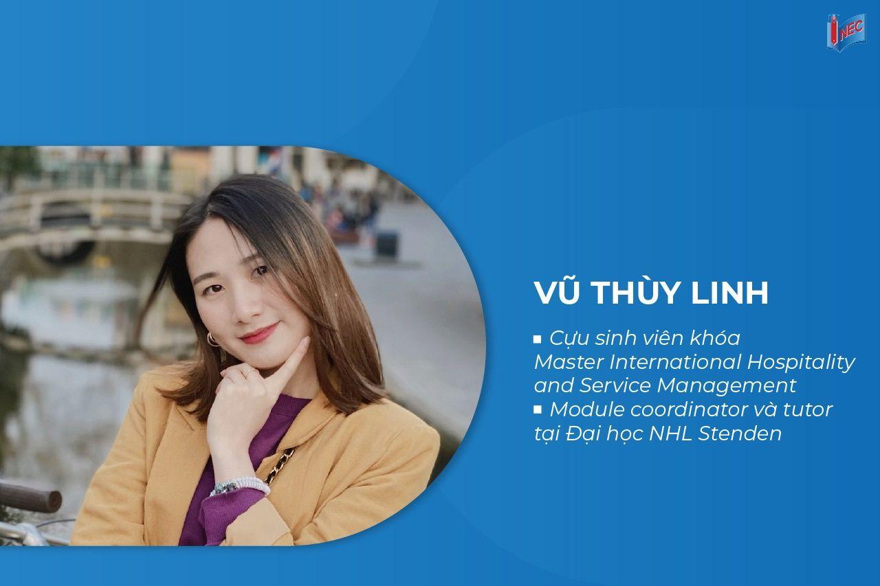 Hội thảo có sự tham gia chia sẻ trải nghiệm du học Hà Lan và ngành học từ bạn Trần Công Anh, Ngô Thị Nhật Khánh và Vũ Thùy Linh - sinh viên Đại học KHUD NHL Stenden