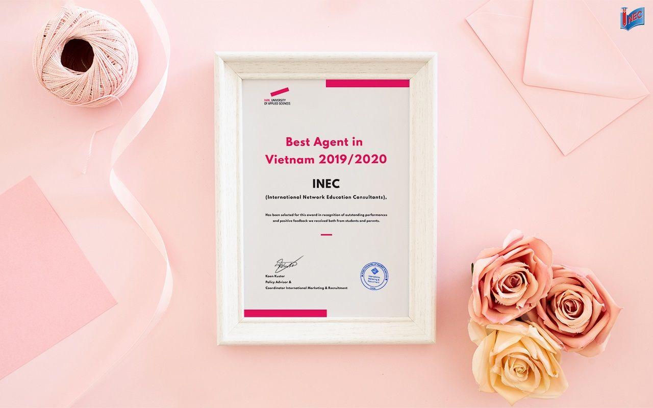 """INEC là Đại diện tuyển sinh tốt nhất của Đại học KHUD HAN năm 2019 - 2020. Đây là lần thứ 5 INEC được HAN vinh danh là """"Best Agent""""."""
