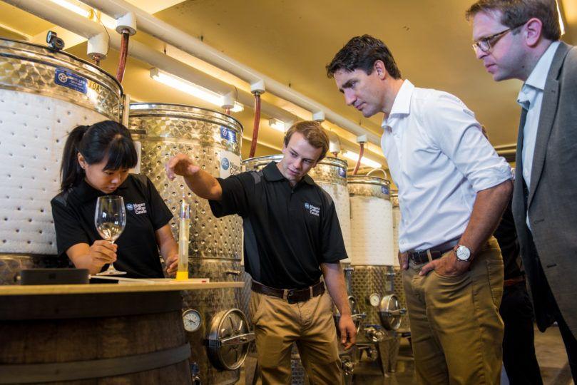 Sinh viên Niagara giới thiệu quy trình sản xuất rượu trước Thủ tướng Justin Trudeau và Nghị sĩ Chris Bittle của St. Catharines