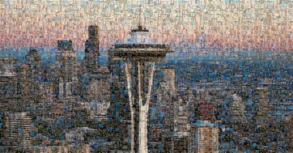 Hình ảnh tháp Seattle - biểu tượng của TP được ghép từ hàng trăm bức ảnh được mọi người chia sẻ trên mạng xã hội